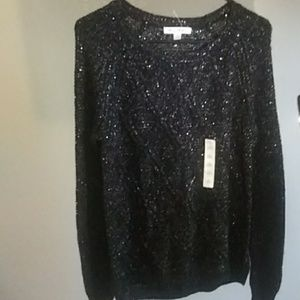Black Cable Silver Sequin Sheer NWT